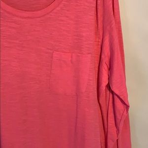LOGO by Lori Goldstein Tops - Logo knit top with printed pleated trim